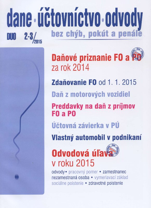 DUO 2-3/2015: Dane, účtovníctvo, odvody