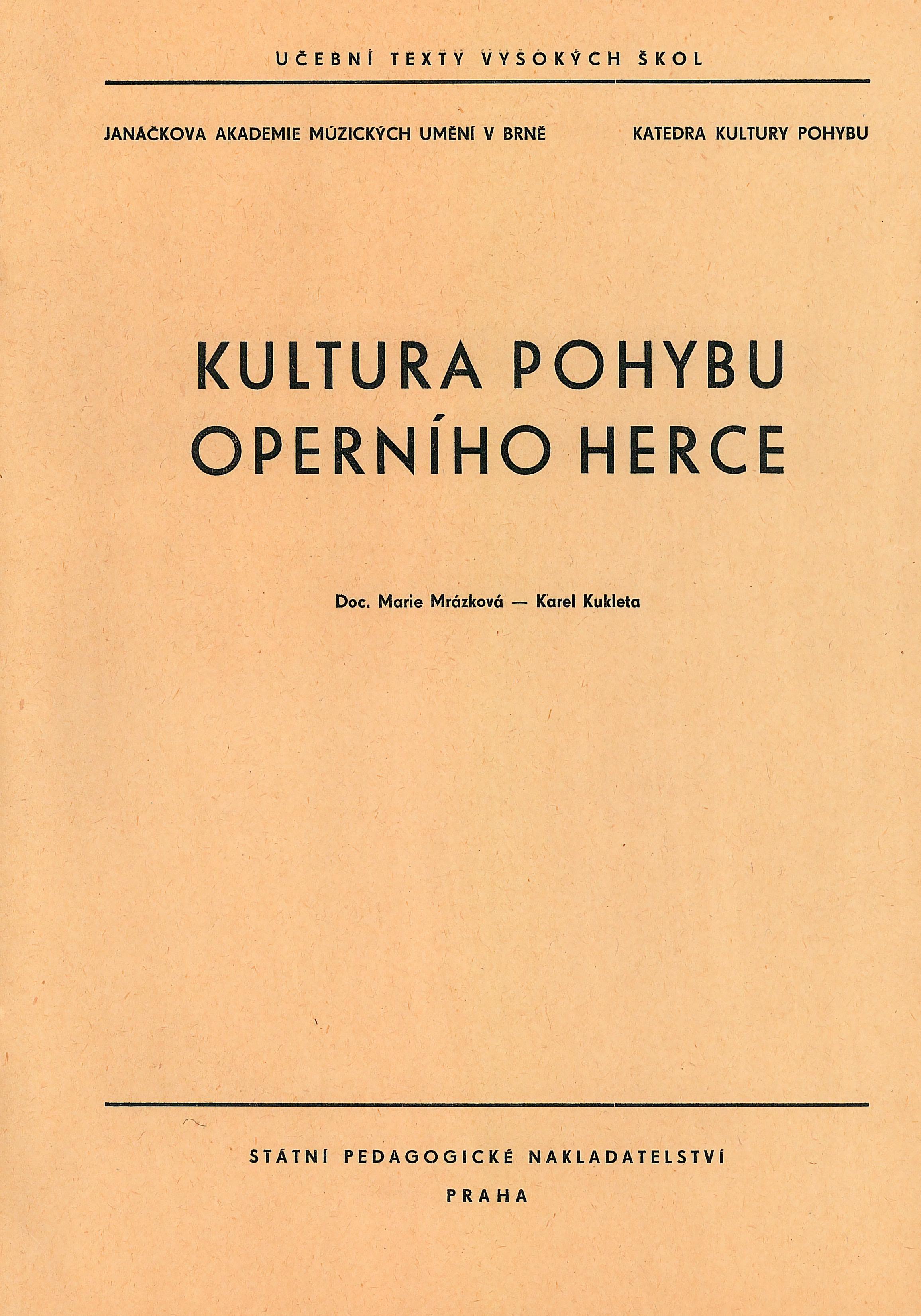 Kultura pohybu operního herce