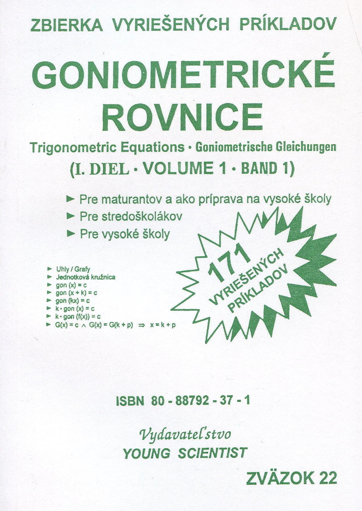 Goniometrické rovnice I. diel - 171 vyriešených príkladov
