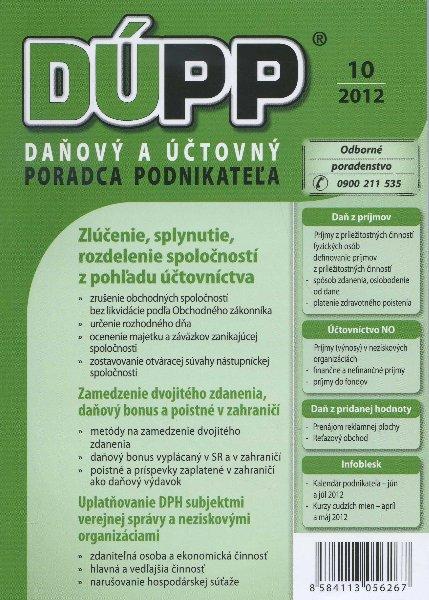 DUPP 10/2012 Zlúčenie, splynutie, rozdelenie spoločností z pohľadu účtovníctva