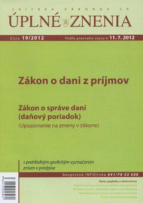 UZZ 19/2012 Zákon o dani z príjmov