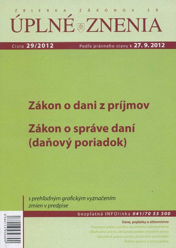 UZZ 29/2012 Zákon o dani z príjmov