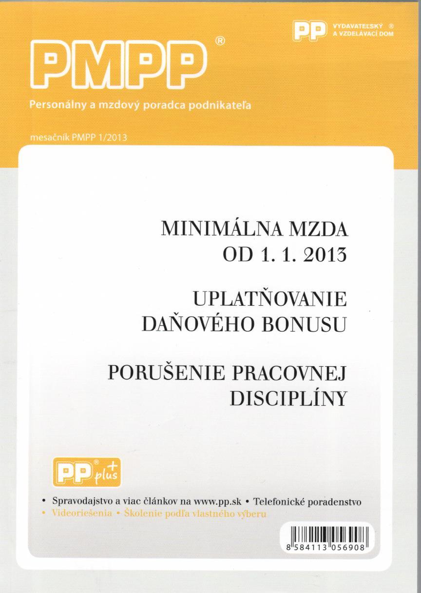 PMPP 1/2013 Minimálna mzda od 1.1. 2013