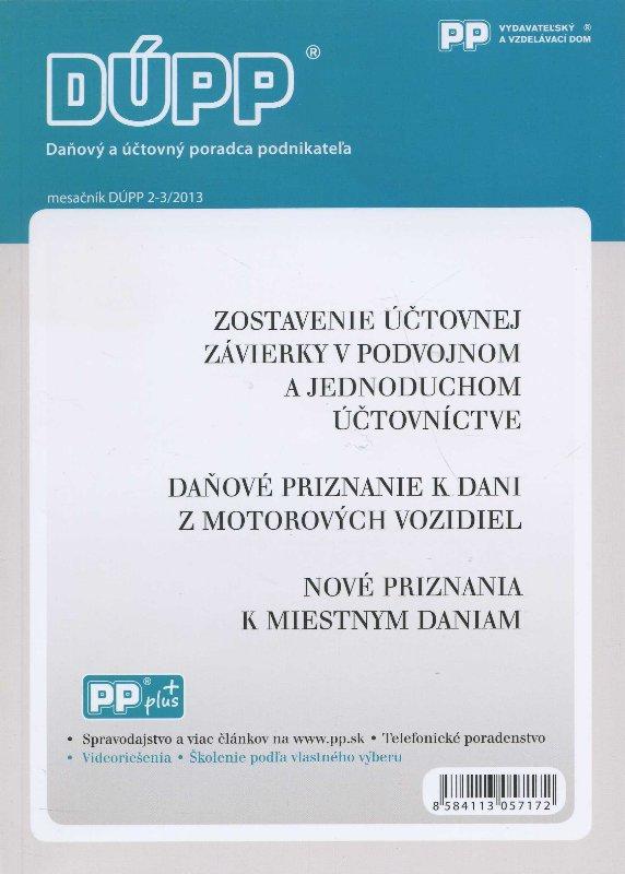 DUPP 2-3/2013 Zostavenie účtovnej závierky v podvojnom a jednoduchom účtovníctve