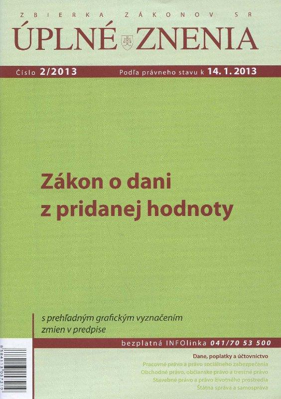 UZZ 2/2013 Zákon o dani z pridanej hodnoty