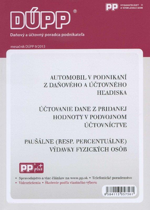 DUPP 9/2013 Automobil v podnikaní z daňového a účtovného hľadiska