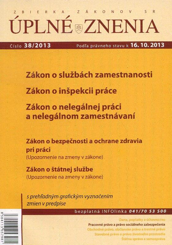 UZZ 38/2013 Zákon o službách zamestnanosti