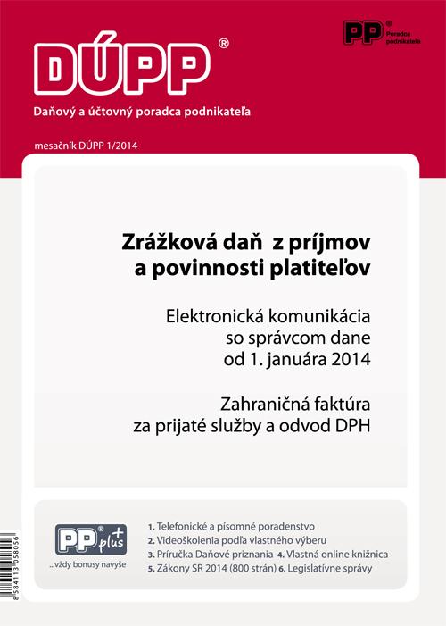 DUPP 1/2014 Zrážková daň z príjmov a povinnosti platiteľov