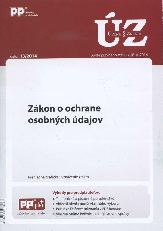 UZZ 13/2014 Zákon o ochrane osobných údajov