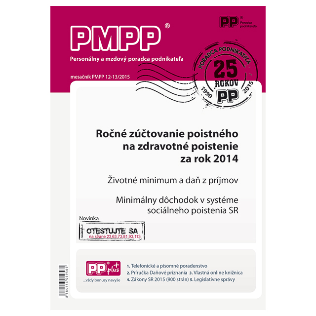 PMPP 12-13/2015 Ročné zúčtovanie poistného na zdravotné poistenie za rok 2014