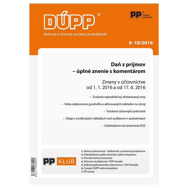 DUPP 9-10/2016 Daň z príjmov - úplné znenie s komentárom