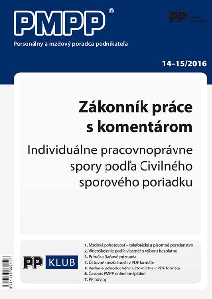 PMPP 14-15/2016 Zákonník práce s komentárom