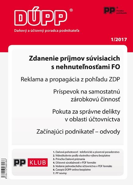 DUPP 1/2017 Zdanenie príjmov súvisiacich s nehnuteľnosťami FO
