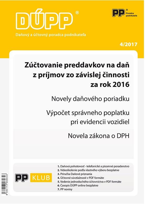 DÚPP 4/2017 Zúčtovanie preddavkov na daň z príjmov zo závislej činnosti za rok 2016