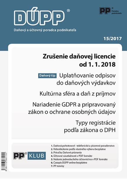 DUPP 15/2017 Zrušenie daňovej licencie od 1. 1. 2018