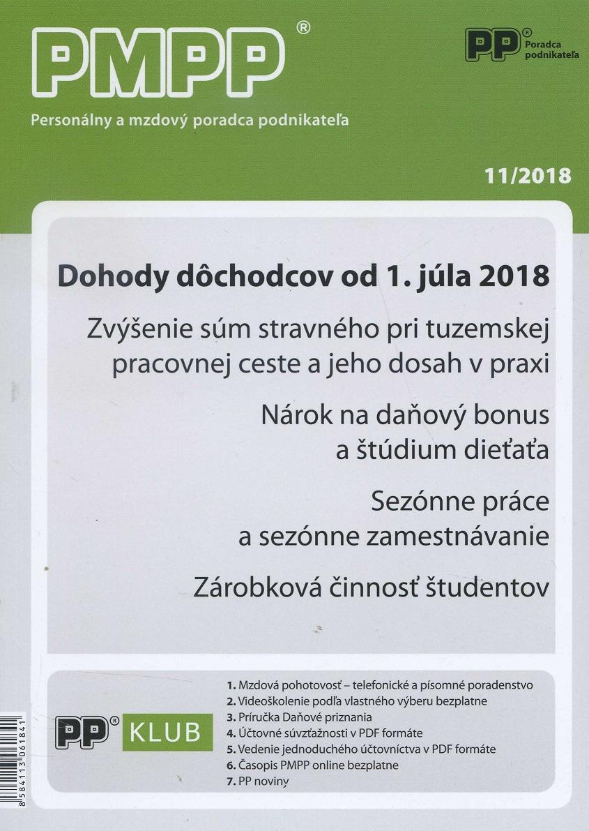 PMPP 11/2018 - Dohody dôchodcov od 1. júla 2018