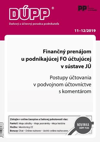 DUPP 11-12/2019 Finančný prenájom u podnikajúcej FO účtujúcej v sústave JÚ