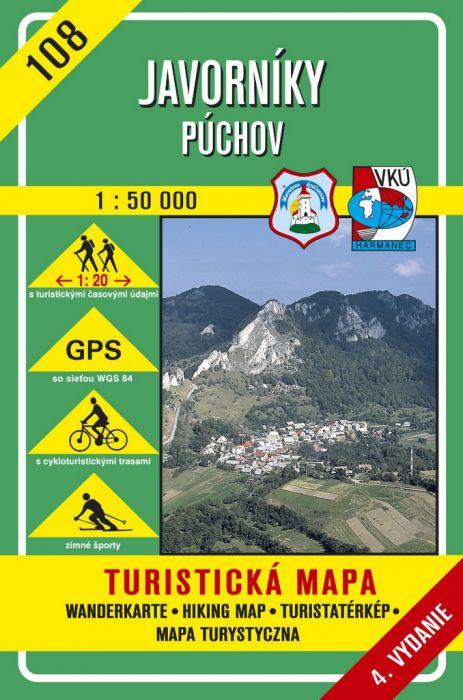 Javorníky - Púchov 1 : 50 000 - Turistická mapa 108