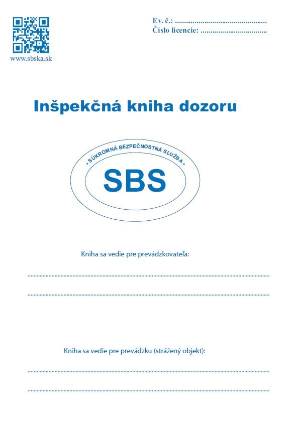 Inšpekčná kniha dozoru - súkromná bezpečnostná služba SBS