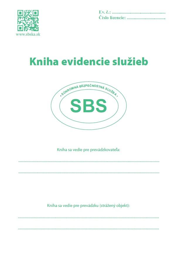 Kniha evidencie služieb - súkromná bezpečnostná služba SBS
