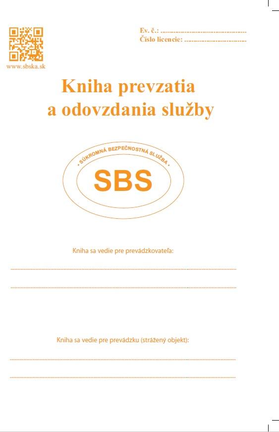 Kniha prevzatia a odovzdania služby - súkromná bezpečnostná služba SBS