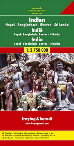 Automapa Indie 1:2,750mil.-Nepál-Bangladéš-Srí Lanka