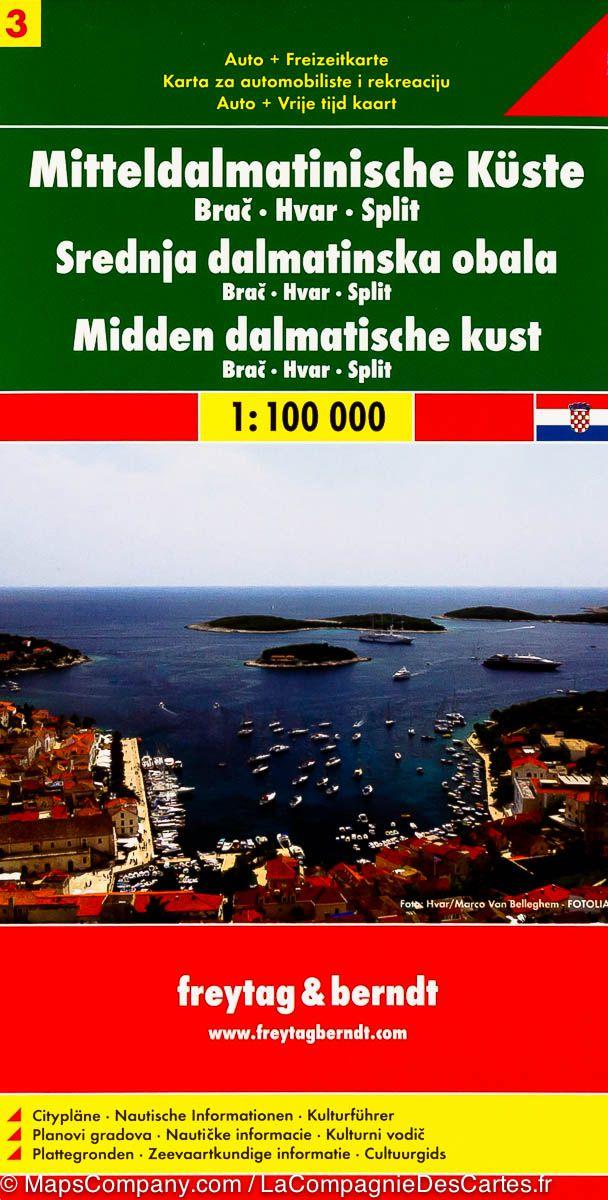 Střední Dalmácie Brač Hvar Split 1: 100 000 - Automapa