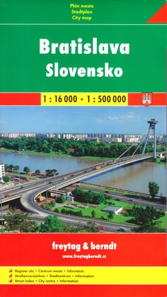 Bratislava + Slovensko 1:16 000/1:500 000 - Plán mesta