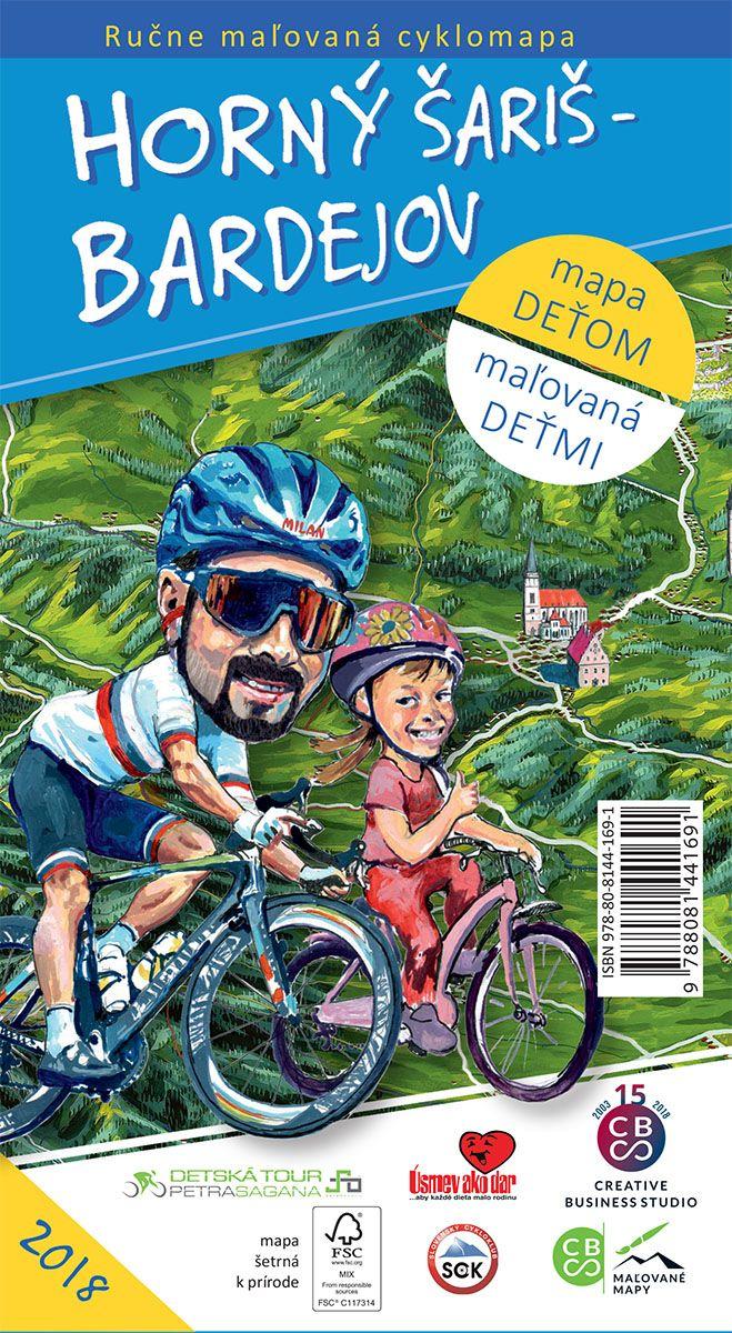 Horný Šariš  Bardejov - ručne maľovaná cyklomapa 2018 - mapa deťom - maľovaná deťmi