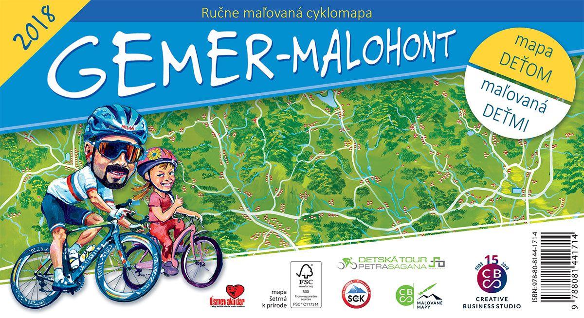 Gemer - Malohont - ručne maľovaná cyklomapa 2018 - mapa deťom - maľovaná deťmi