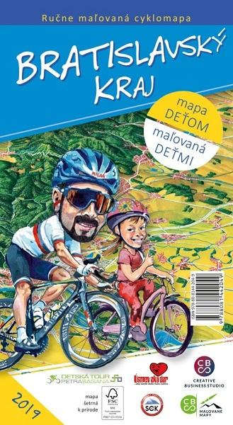 Bratislavský kraj - ručne maľovaná cyklomapa 2019 - mapa deťom - maľovaná deťmi