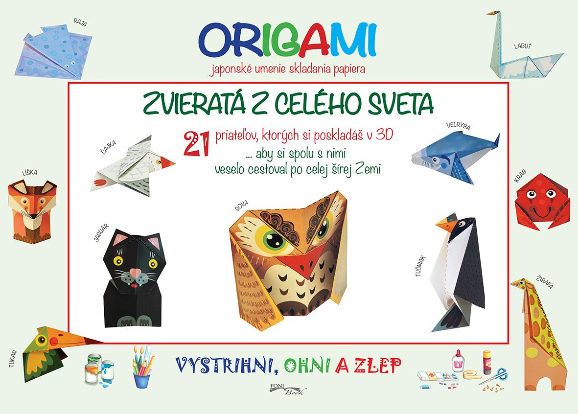 Zvieratá z celého sveta - Origami (japonské umenie skladania papiera) - Vzstrihni, ohni a zlep