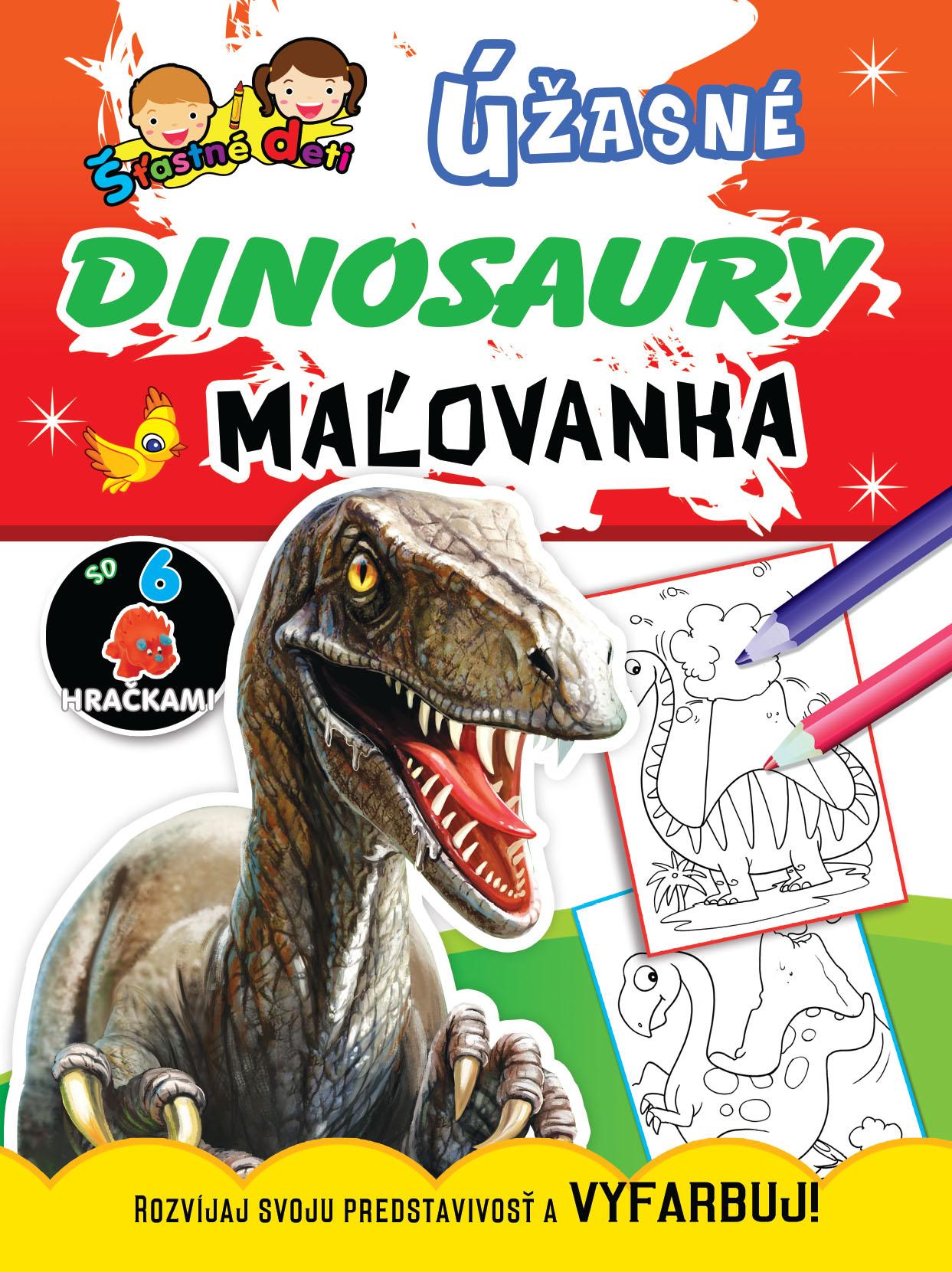 Maľovanka so 6 hračkami - Úžasné dinosaury - Rozvíjaj svoju predstavivosť aVYFARBUJ!